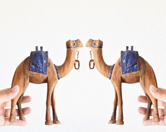 hand carved wooden camel llama figurine / caravan