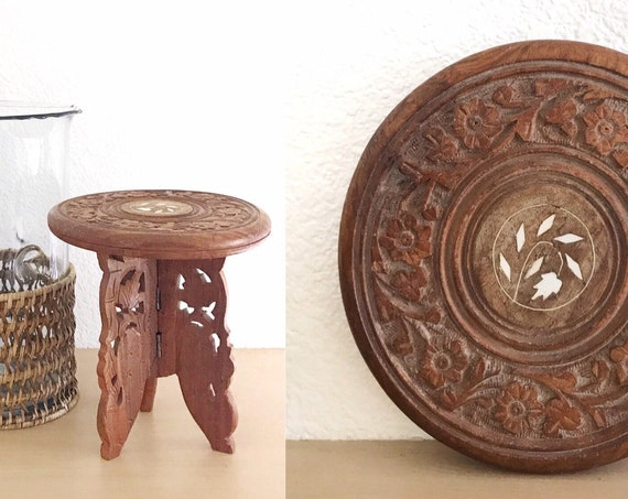 vintage carved solid wood metal trivet plant stand / planter boho / hot plate