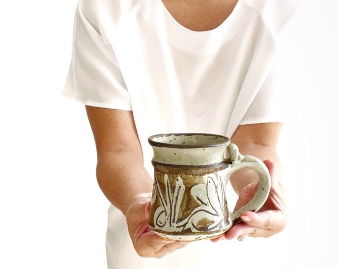 hand thrown speckled brown earth tone pottery stoneware coffee mug | water drinking cup