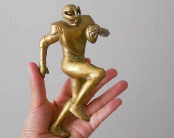 rare vintage heavy solid brass american football player figurine sculpture / trophy / soccer