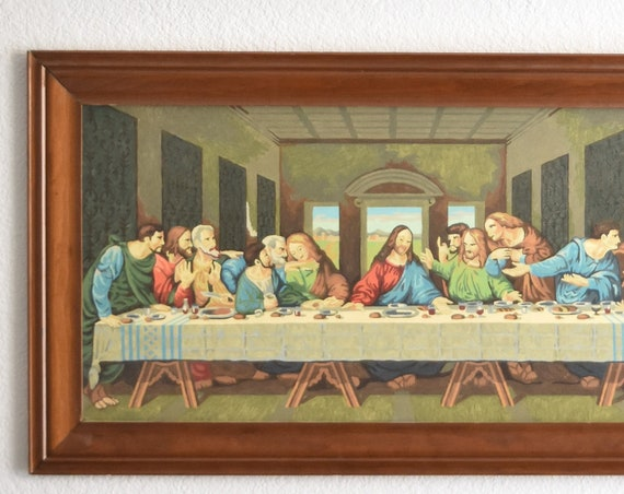 framed mid century large wall hanging paint by numbers jesus last supper painting