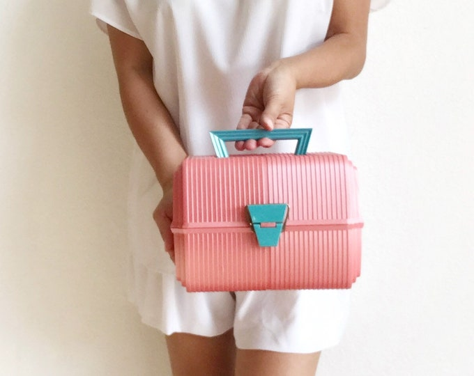 vintage tiered SASSABY bright pink turquoise makeup storage box / tiered vanity organizer box