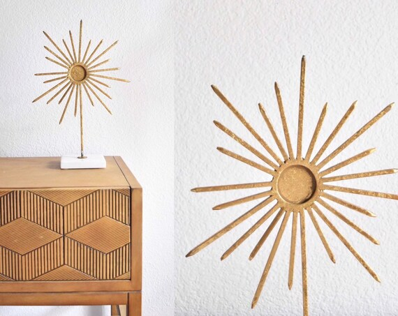 mid century modern gold metal starburst sculpture on marble base | decorative ornate atomic sun star art