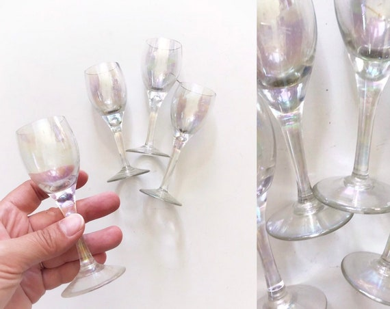 set of 4 iridescent stemware cocktail shot glasses / gift barware