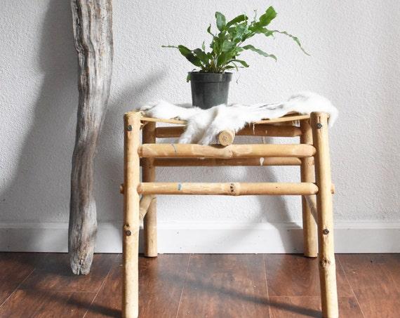 vintage primitive handmade bamboo stool