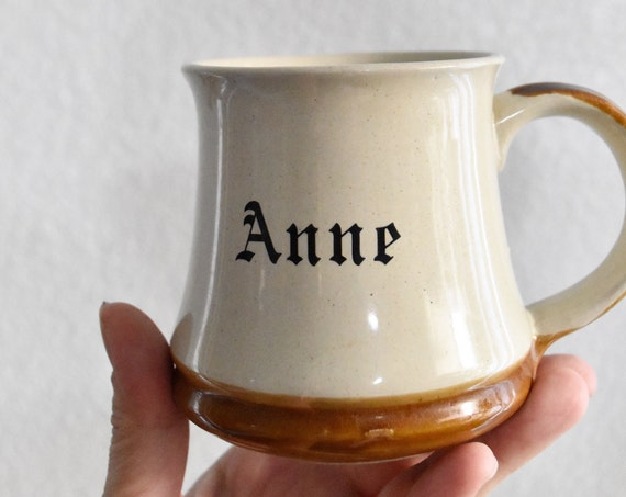 vintage brown tan ceramic Anne coffee mug