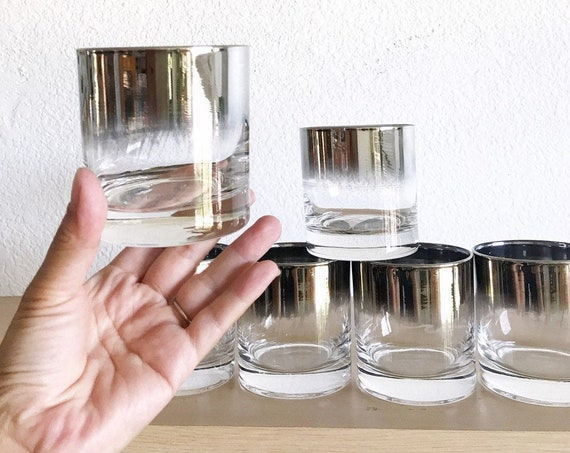mid century modern ombre silver rim cocktail tumbler glass set / madmen style barware gift