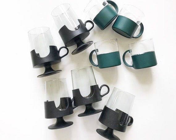 retro black corning glas snap coffee cup mug set | cup insert holder | gift coffee lover