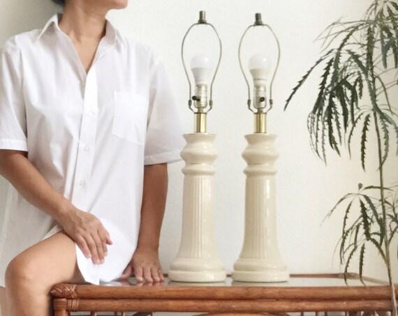 tall elegant mid century modern white gold ceramic table lamp set of 2
