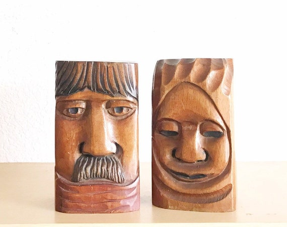 mid century carved solid wood face bookends / man woman head sculptures / bust figurine set of 2
