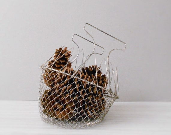 vintage collapsable deep metal wire mesh basket with handle / rustic farmhouse storage