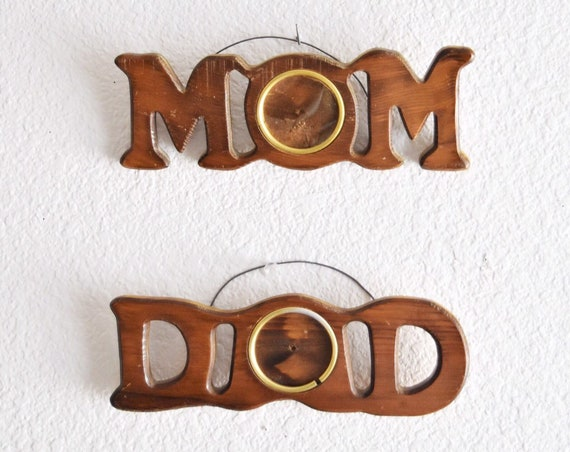 mid century wooden mom dad wall hanging picture frame | Mother's Day gift