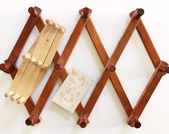 extra large bulky vintage wood accordion wood peg wall hanging rack / hat display storage / organizer