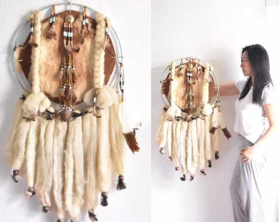 vintage large traditional leather native american indian dreamcatcher bohemian wall hanging / mandala
