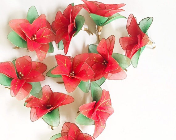 vintage set of red nylon poinsettia flower Christmas tree ornaments | xmas decorations