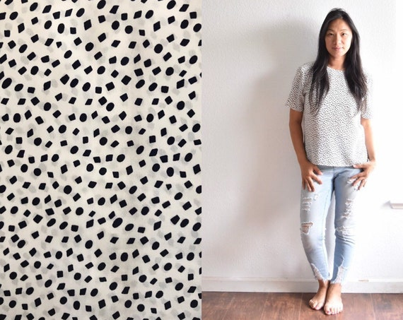 women's vintage white polka dotted short loose secretary shirt blouse   small medium