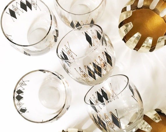 mid century modern atomic roly poly lowball cocktail glass set with harlequin diamond pattern | black gold