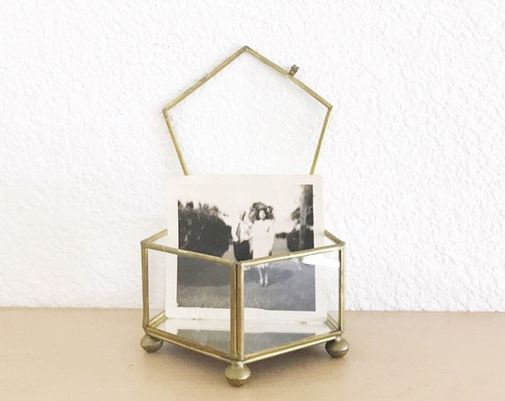 vintage geometric brass mirror glass display trinket jewelry box / gift box container