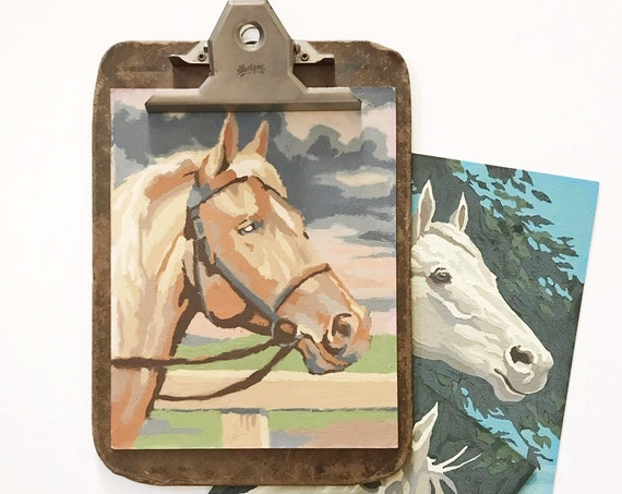 vintage brown paint by number western horse painting | horse head