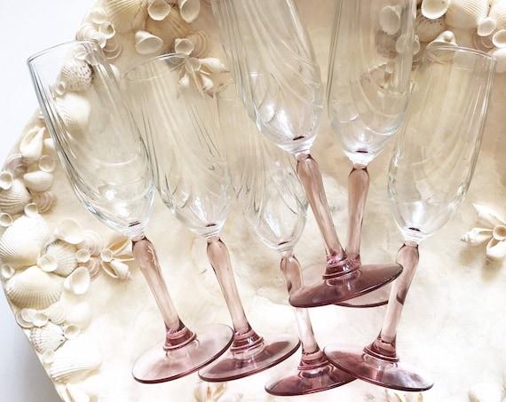 set of 6 pink purple high stemware flute champagne glasses / barware housewarming wedding gift