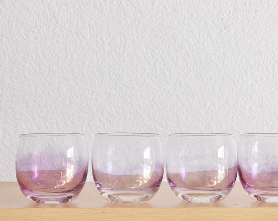 mid century set of 4 pink purple roly poly cocktail brandy glasses / gift barware