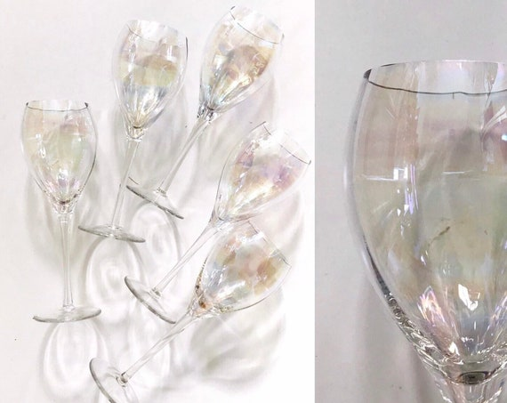 set of 6 hand blown tall iridescent stemware champagne glasses / gift barware / toscany