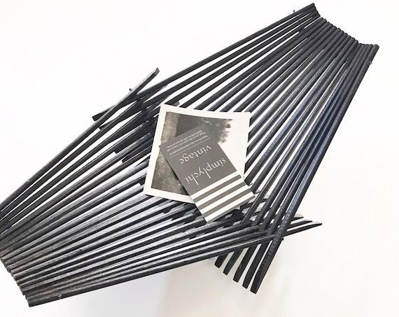 black wood mid century modern collapsible folding bamboo basket tray / fruit bowl / boho / organic