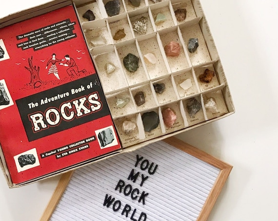 1950s vintage rock mineral collection gift set | identifying rock names