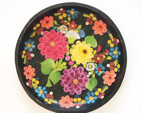 "18"" large hand painted batea mexican wood bowl / decorative wall hanging plate"
