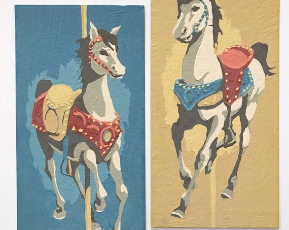 set of vintage blue paint by number western horse painting | merry go round carnival horses