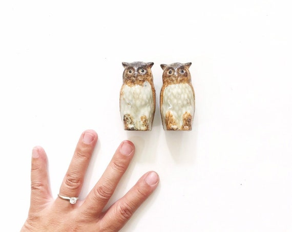 vintage set of miniature ceramic brown owl figurines | gift for owl collector