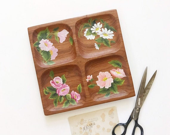 hand carved hand painted wood tray | business card holder | office farmhouse home decor