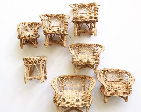 mini wicker peacock chair planter / sofa plant stand / doll chair / boho chic / 1 chair