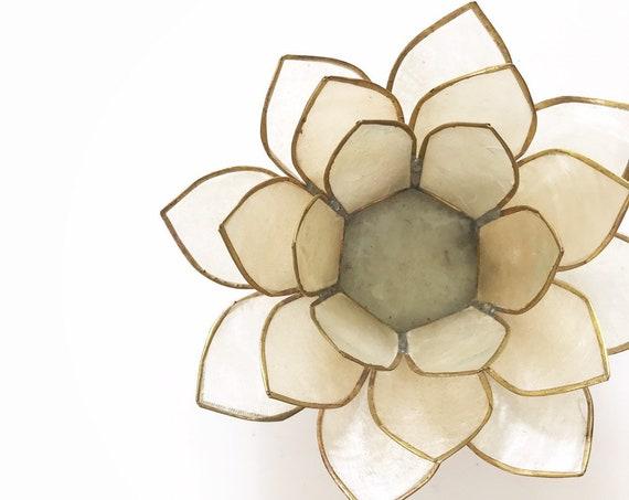 capiz shell lotus flower candleholder / candlestick holder