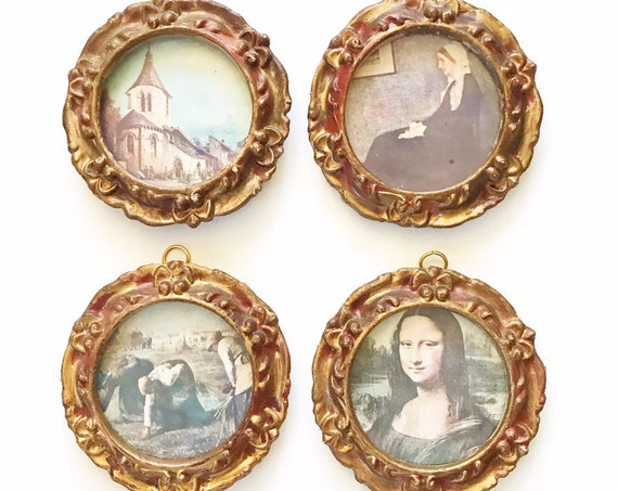 1950s mid century set of framed victorian florentine cameo portrait prints