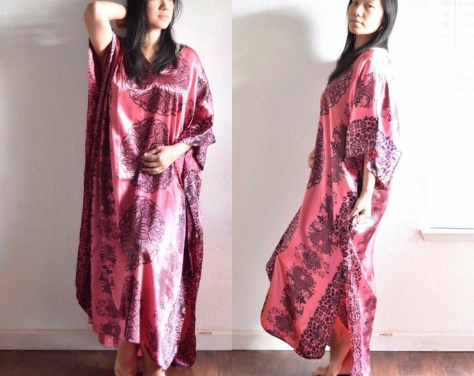 vintage pink tent dress poncho night gown / long bohemian summer skirt