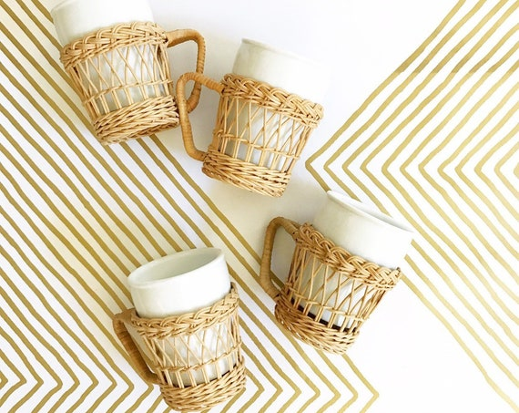 white vintage wicker rattan ceramic mug set of 4 / coffee mug cup holders / inserts