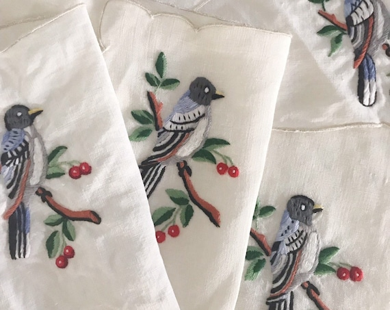 set of vintage 6 embroidered cross stitched bird napkins