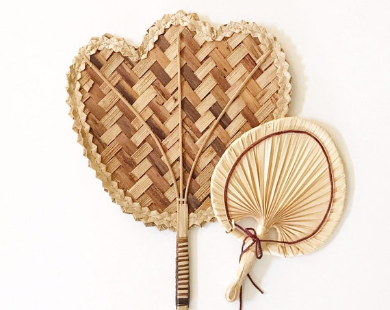 pair of 1970s brown delicate ornate woven rattan fan / wall basket set of 2