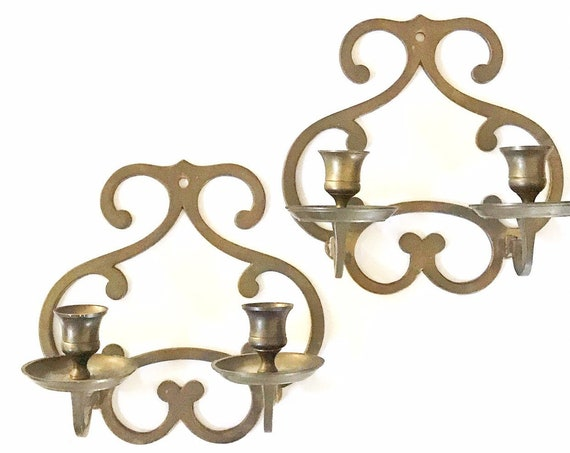 set of ornate solid brass wall hanging candelabra candlestick holders