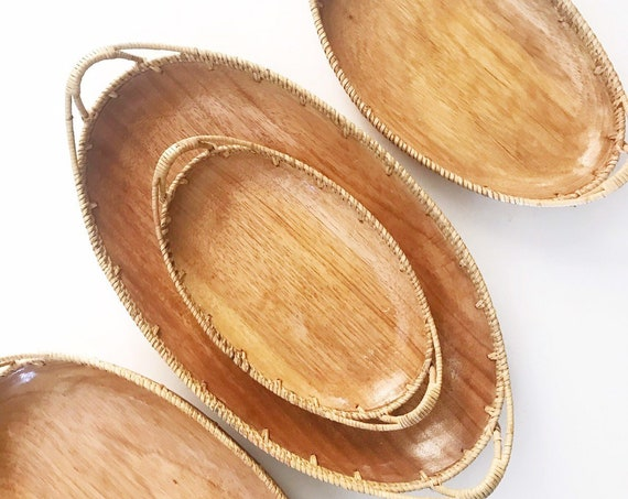 large vintage teak wood woven nesting basket trays with handles / set of 3 / housewarming gift