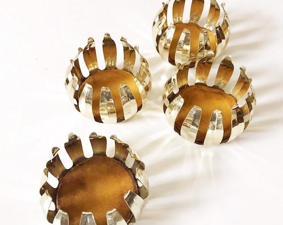 mid century modern gold lotus flower atomic cocktail glass coaster set | drinking cup holders | barware gift