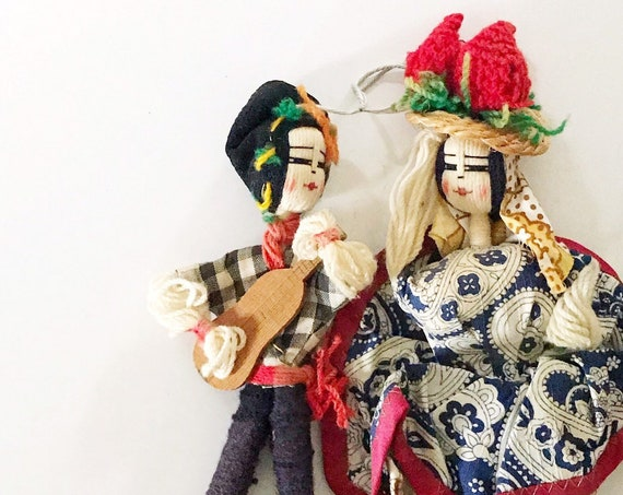 1960s vintage pair of handcrafted bulgarian folk art yarn dolls | fiber art figurine