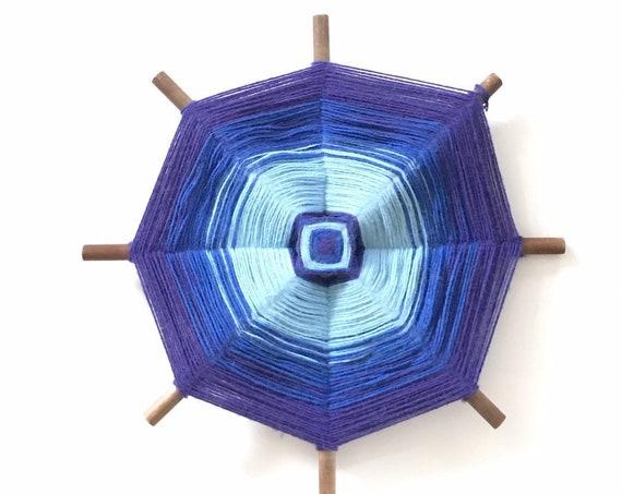 handmade blue purple fiber art god's eye wall hanging / mandala / boho hippie decor