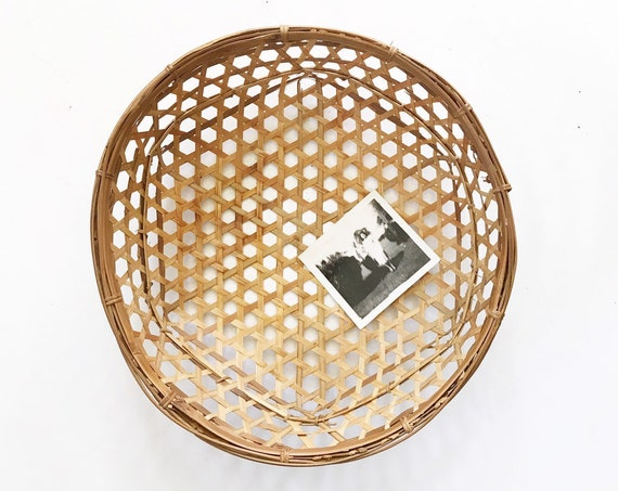 round woven bamboo rattan basket with open weave | geometric shaped