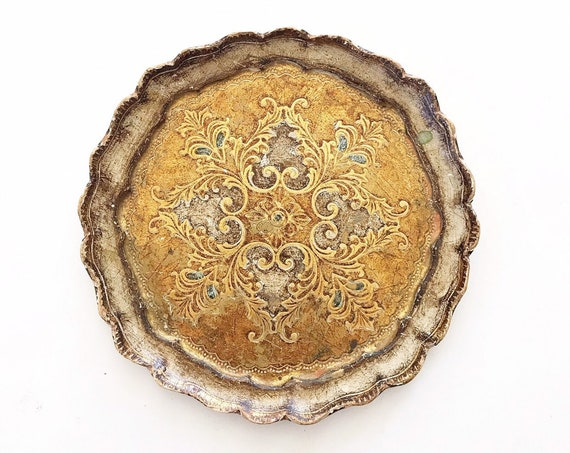 gold florentine italian faux wood tray with floral pattern | victorian ornate wall plate