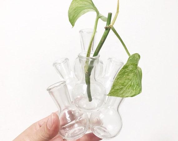 vintage stacking glass flower face sculpture / bud vase / flower frog / circle centerpiece