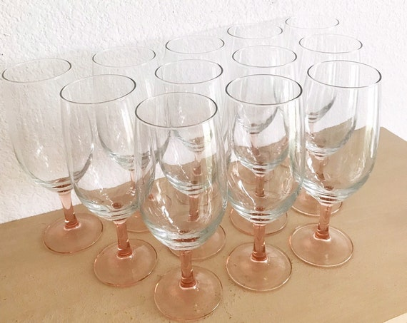 set of 12 pink stemware champagne glasses / wedding gift barware