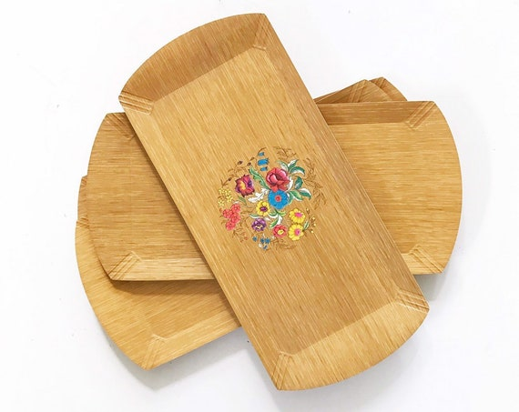 set of hasko vintage laminated serving trays with floral pattern