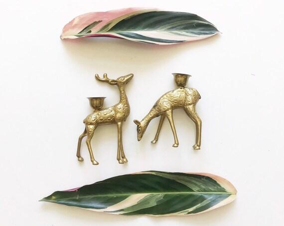 pair of brass christmas reindeer candleholders // gold deer candlesticks figurine set